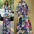Новый 2015 платье новая Мода платье Многоцветной Обертками Большой Роуз Печати пят Платье Женщины