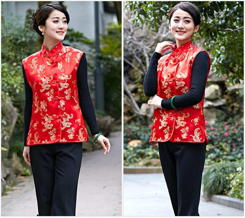 Xangai história outono dragão phoenix bordado mandarim colarinho botão chinês vermelho colete bordado vermelho chinês sem mangas jacke