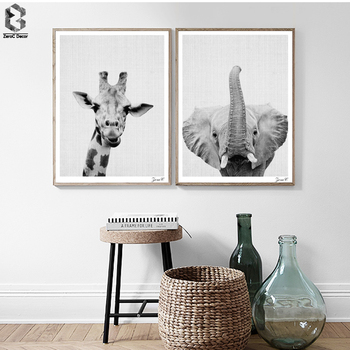 Nordic czarny biały plakaty i reprodukcje obraz ścienny na płótnie zwierząt obraz do salonu skandynawskie słoń wystrój domu