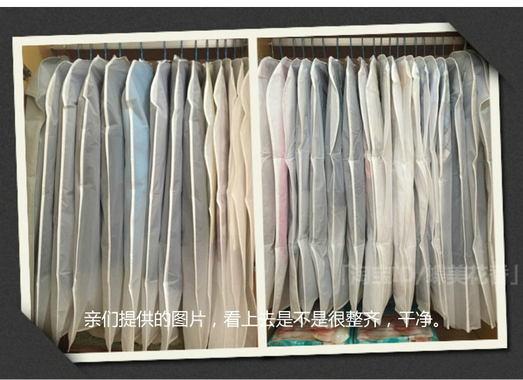 Famous brand 10pcs / lot Transparent Clothing Storage Bags Hanging Dust Cover Thicken Wardrobe Suit Bags