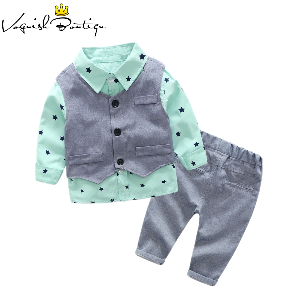 Voguish Boutiqu New Style Newborn Baby Gentlemen Boy 3pcs/set Clothing Set Shirt+vest+casual Pants Quality Baby Clothes
