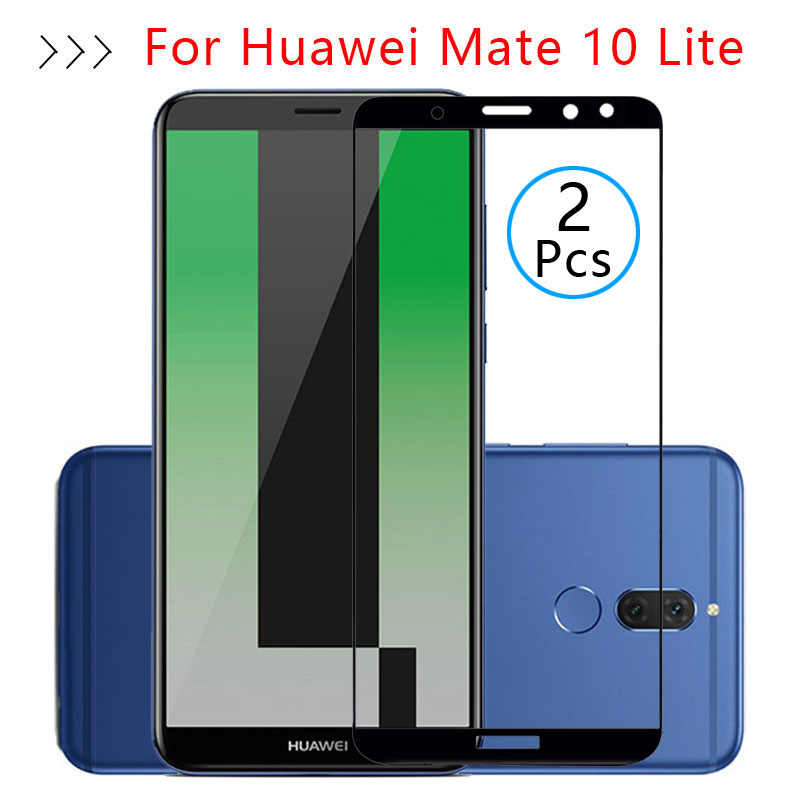 2 pcs Tempered Glass Cho Huawei Mate 10 Lite Trường Hợp Đầy Đủ Bìa Bảo Vệ Màn Hình Bảo Vệ An Toàn Tremp Trên Made Matte 10 ánh sáng 5.9
