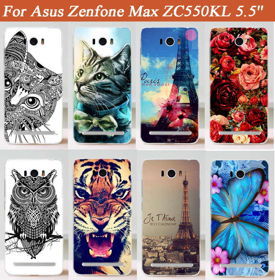 14 أنماط جديد أزياء DIY تصميم حالة ل Zenfone ماكس ZC550KL ورد جميل الزهور ايفل أبراج الصلب غطاء شحن مجاني