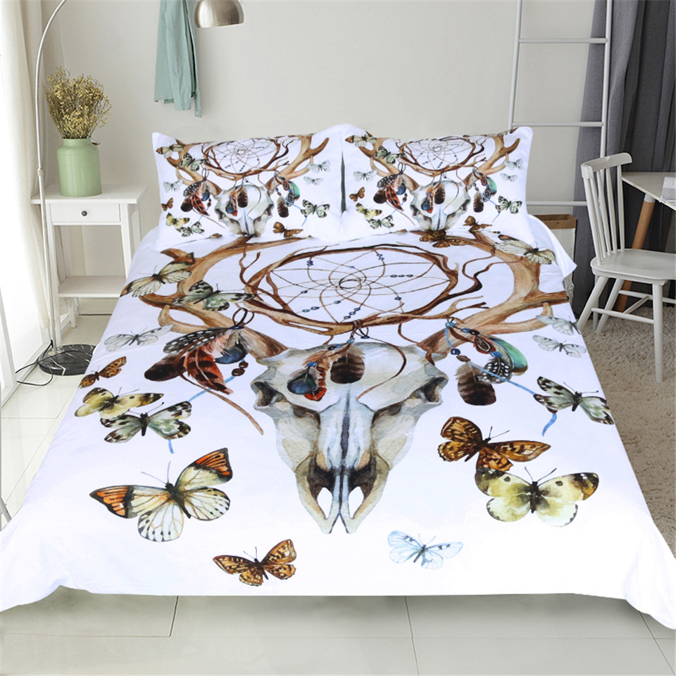 CAMMITEVER Butterfly Dreamcatcher Bedding Set King Size Luxury Print Bohemian Bedclothes 3d Universe Duvet Cover-in Bedding Sets from Home & Garden