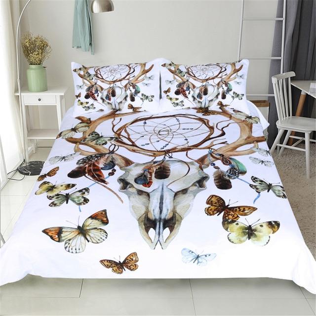 CAMMITEVER Butterfly Dreamcatcher Bedding Set King Size Luxury Print Bohemian Bedclothes 3d Universe Duvet Cover