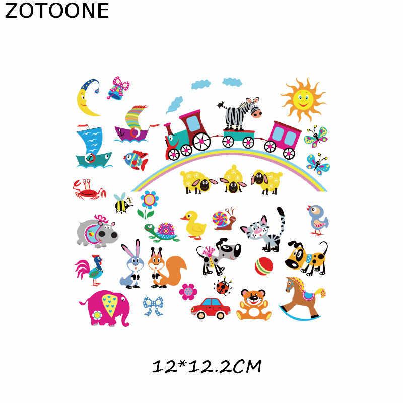 Zotoone Hewan Lucu Set Garis Besi Pada Transfer Patch Pakaian Diy Patch Transfer Panas untuk Pakaian untuk Anak-anak Stiker hadiah G