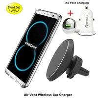 Universal de carregamento Sem Fio/Ímã suporte Do telefone Do Carro carregador de Carro para o iphone 8 X Samsung S7/S8 Carro Note8 Carregador sem fio de montagem