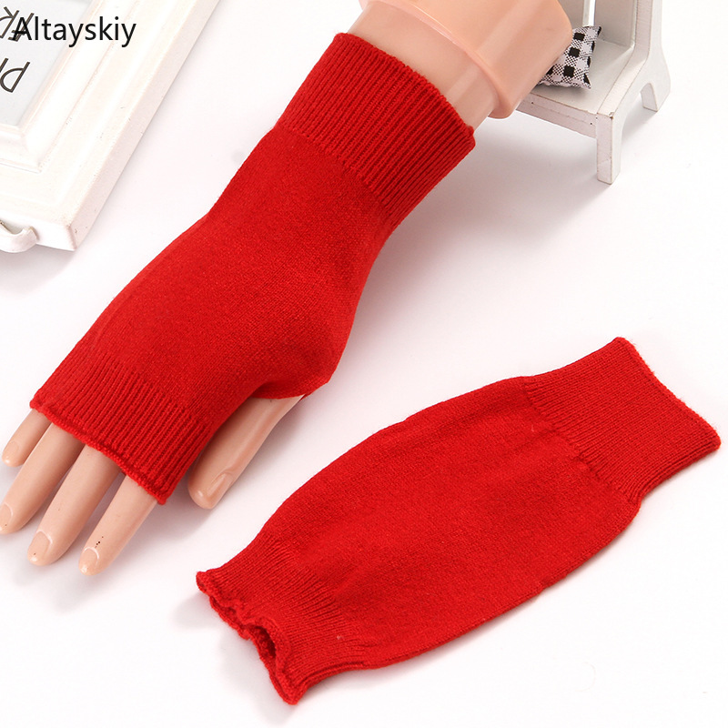Arm Warmers Women Solid Cashmere Cotton Thicker Plush Knitting Warm Winter Finger-less Womens Mitts Simple All-match Chic Female