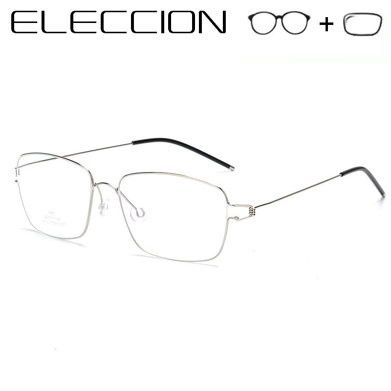 ELECCION Pure Titanium Prescription Glasses Men Optical Frames 2019 Vintage Male Myopia Eyeglasses Denmark Screwless Eyewear