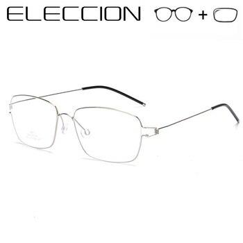 bca3c21d66 ELECCION de titanio puro gafas hombres marcos ópticos 2019 Vintage Hombre  miopía gafas Dinamarca sin tornillos gafas