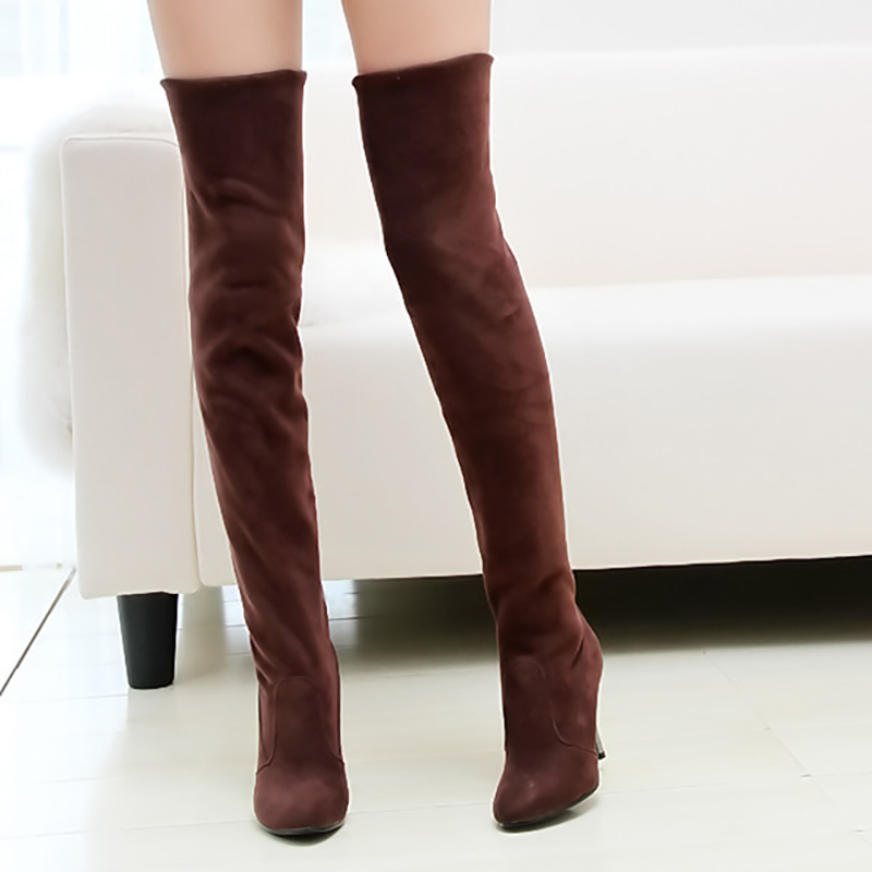 Over The Knee Boots Women Shoes Sexy High Heels Boots Women Knee High Boots Female Autumn Stiletto Ladies Shoes Plus Size 42 43 plus size 34 43 winter autumn women soft leather knot low heels lovely knee high boots 3colors pink ladies fashion female shoes