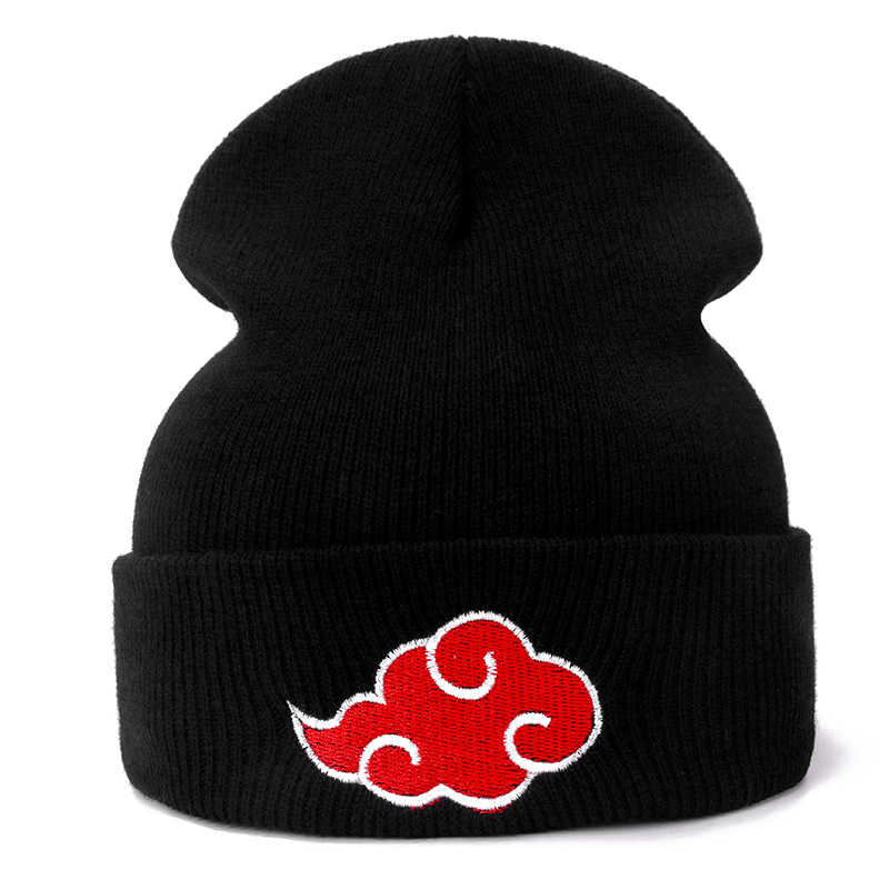 Japanese Akatsuki Logo Anime Naruto Casual Beanies For Men Women Knitted Winter Hat Solid Color Hip-hop Skullies Hat Unisex Cap