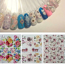 1 Sheet Acrylic Engraved 3D DIY Flower Nail Sticker Embossed Patterns Water Slide Decals Decorations