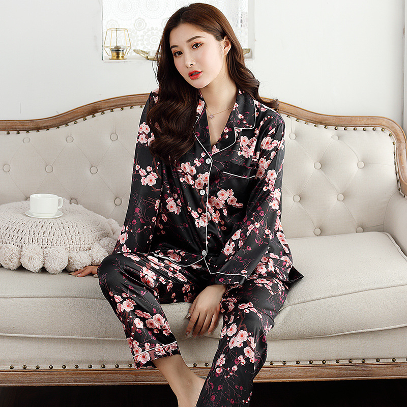 Image 2 - QWEEK Womens Satin Pajama Two Piece Autumn Long Sleeve Women Nightwear Set Cardigan Plus Size Sleepwear Print Loungewear Women-in Pajama Sets from Underwear & Sleepwears