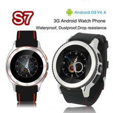 Android 4.4 S7 smartwatch MTK6572 BT 4,0 Smart Uhr GPS Wasserdichte Sportuhren unterstützung musik video player kamera für Android