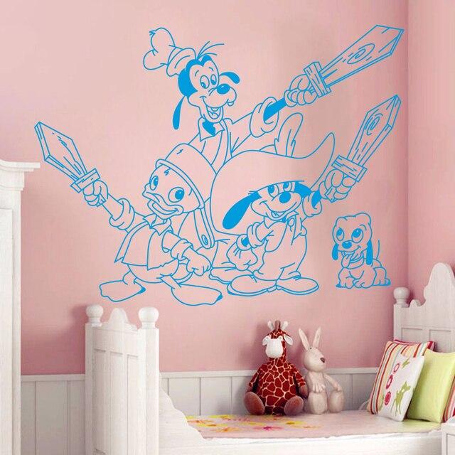Stickers muraux créatifs T152 | stickers muraux mignons et mignons de Mickey Mouse, pour chambres denfants, décoration de la maison