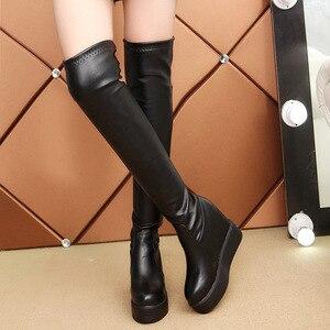 Image 3 - SWYIVY Frauen Herbst Hohe Stiefel Plattform Über Das Knie Weibliche Mode Stiefel Winter Warm Schnee Stiefel Schuhe Ausgeblendete Buchmacher Keil Dame stiefel