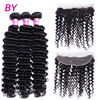 Bling Hair Deep Wave 3 Bundles With 13x4 Lace Frontal Remy Hair Bundle For Hair Salon