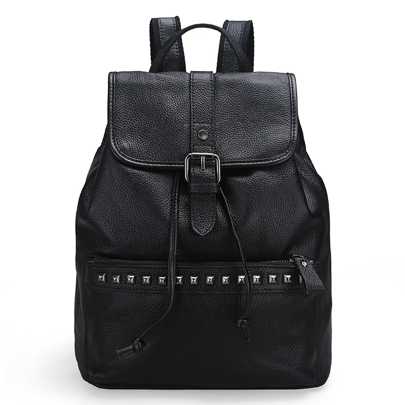 The new fashion leisure leather shoulder Baotou layer of cowhide ladies backpack Liu nail women s