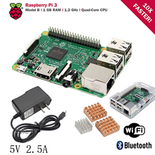 Standard Kit Raspberry Pi 3 Model B Board Rasp PI3 1GB RAM Quad Core With Heat Sink Adapter AC Power Supply 5V 2.5A With Case