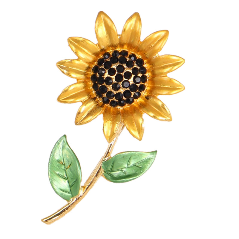Big Flower Brooches For Women Gold Color Scarf Buckle Crystal Rhinestone Sunflower Brooch Pins Bridesmaid Accessories