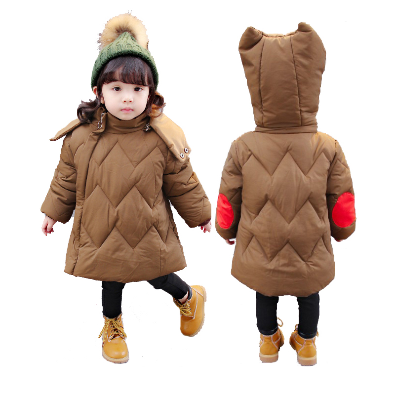 Winter Warm Baby Girls Jacket Brand Long Down Parkas Jacket For Girl Fashion Thicken Hooded Girls Outerwear Coat Childrem Jacket 2015 new hot winter thicken warm woman down jacket coat parkas outerwear hooded leisure luxury long loose plus size 2xxl cold
