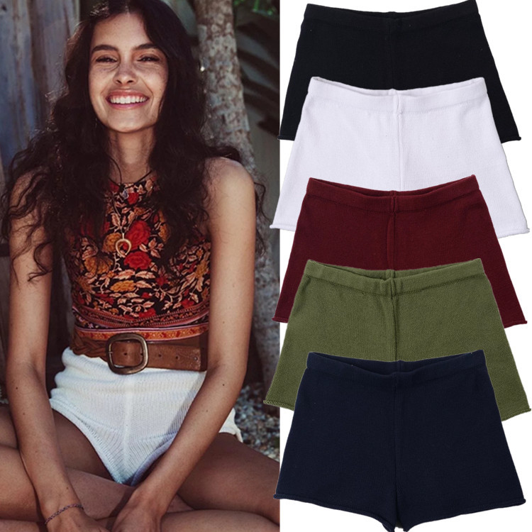 Fashion Knitting High Waist   Shorts   Women 2017 Summer Multi-color Europe America Pack Hip Leisure Sexy Pantalones Cortos Mujer