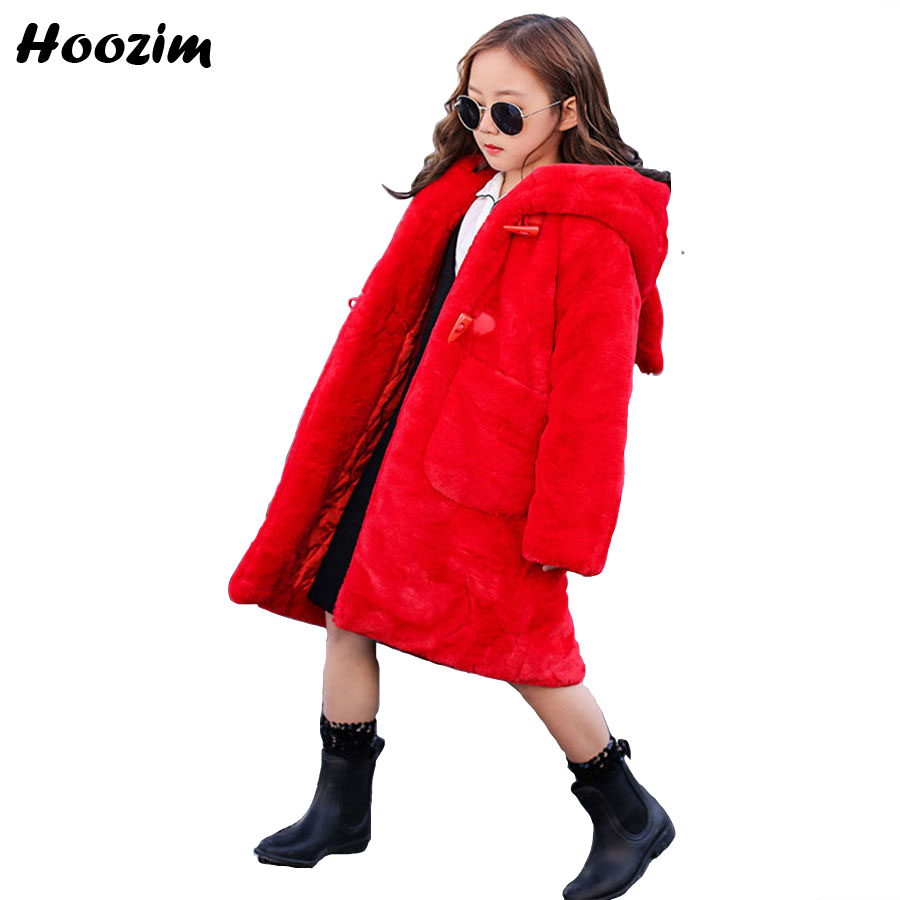 European Faux Fur Coat Children 2018 Winter Thick Long Jacket For Girls 9 10 11 12 Years Fashion Teenage Outerwear With Ears Red fashion red longline coat with belt