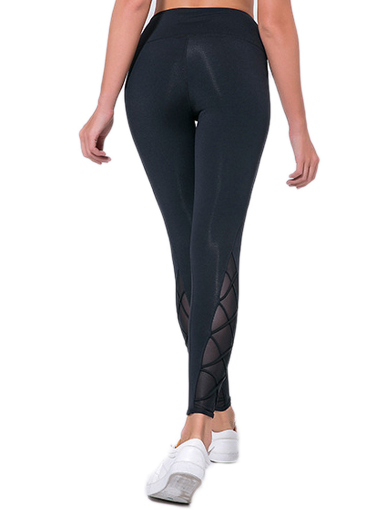 Solid Black Sexy Mesh Leggings For Women Elastic Sportswer Workout Outdoor Gym Pants Soft Plus Size High Waist Slim Trousers