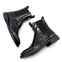 2018 Handmade New arrival Mens Black leather Oil Surface Elastic British Steller Carve Patterns work Chelsea Boots