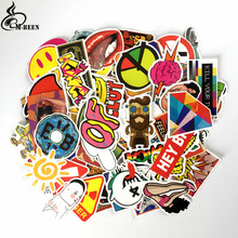 100pcs/pack Not repeating graffiti Stickers Retro Small yellow duck diamonds for laptop Suitcase trolley case waterproof decals(China)