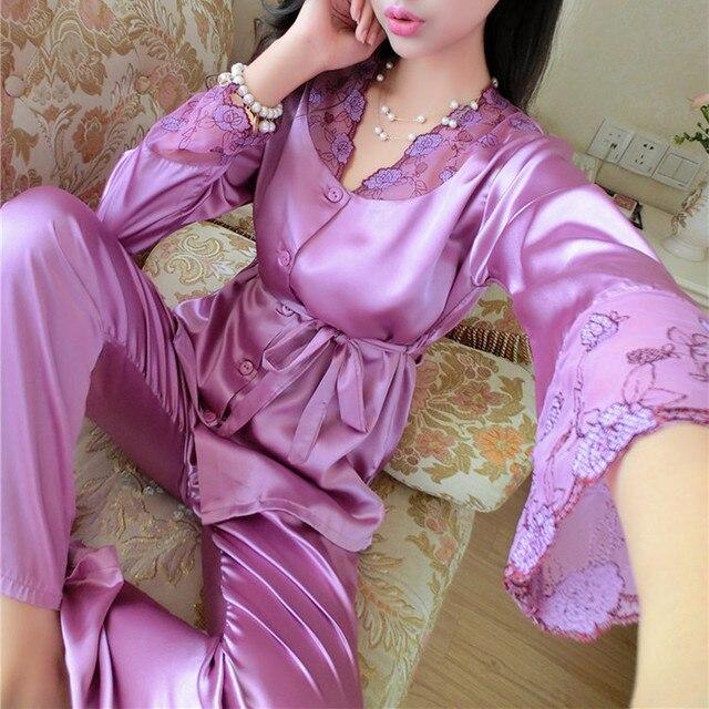 99e5686e75 2018 Autumn Women Ladies Sexy Flower Lace Satin Silk Pajamas Sets Long  Sleeve Tops+Pants Sleepwear mujer Nightwear pyjama femme