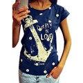2017 summer tops tees ladies short shirt women Boat anchor shirt Cotton female shirt woman clothes plus size vestidos