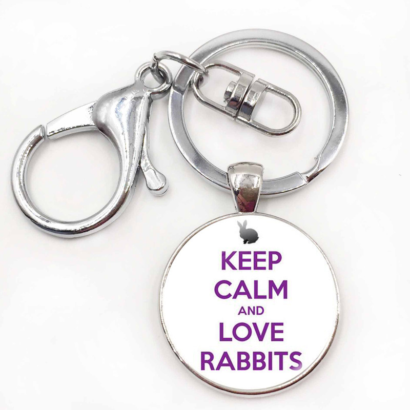 Metal Ring Key Chain Keychain Keep Calm and Love Rabbits Cute Bunny