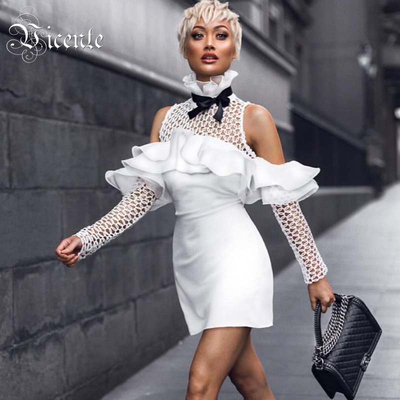 Vicente 2019 New HOT Chic Elegant Ruffles Bow Embellished Sexy Off The Shoulder Hollow Out Women