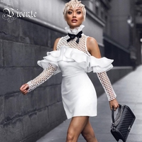2018 New Free Shipping Chic Elegant Ruffles Bow Embellished Sexy Off The Shoulder Hollow Out Women