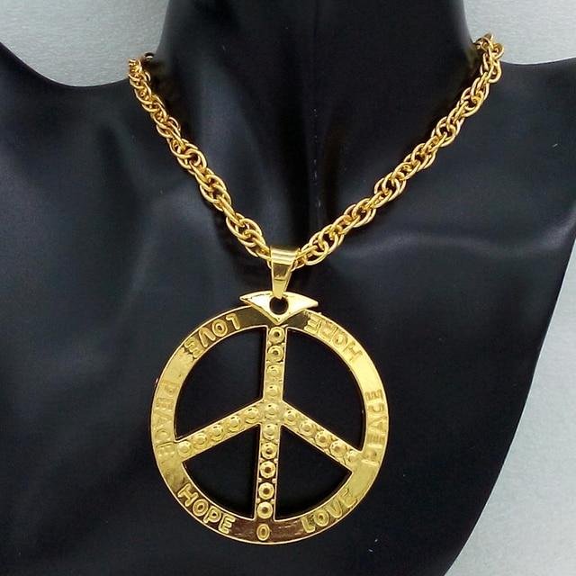 Hip hop mens rap goldsilver peace sign pendant necklace long body hip hop mens rap goldsilver peace sign pendant necklace long body chains necklaces mozeypictures Image collections