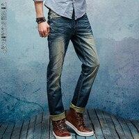 TIMESUNION 2017 Retro Kot Mens Marka Giyim Moda Denim Pantolon En Kalite Casual Slim Fit Biker Jeans Erkekler için