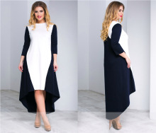 Plus Size Women Winter Dress Loose Patchwork Women Maxi Dress Three Quarter Sleeve Long Dress 5XL 6XL Women Clothing