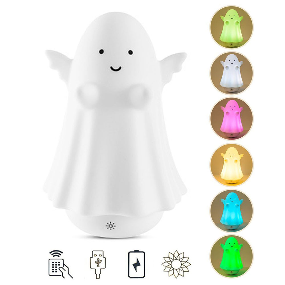 Cute Angel Night Light Silicone Tumbler Touch Multicolor LED Light USB Rechargeable Tap Control Night Lamp For Kids Baby Bedroom keyshare dual bulb night vision led light kit for remote control drones