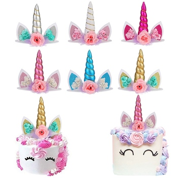 Unicorn Horns Cake Topper Decoration Halloween Birthday Party Event Supplies Kids Birthday Cake Decoration birthday cake