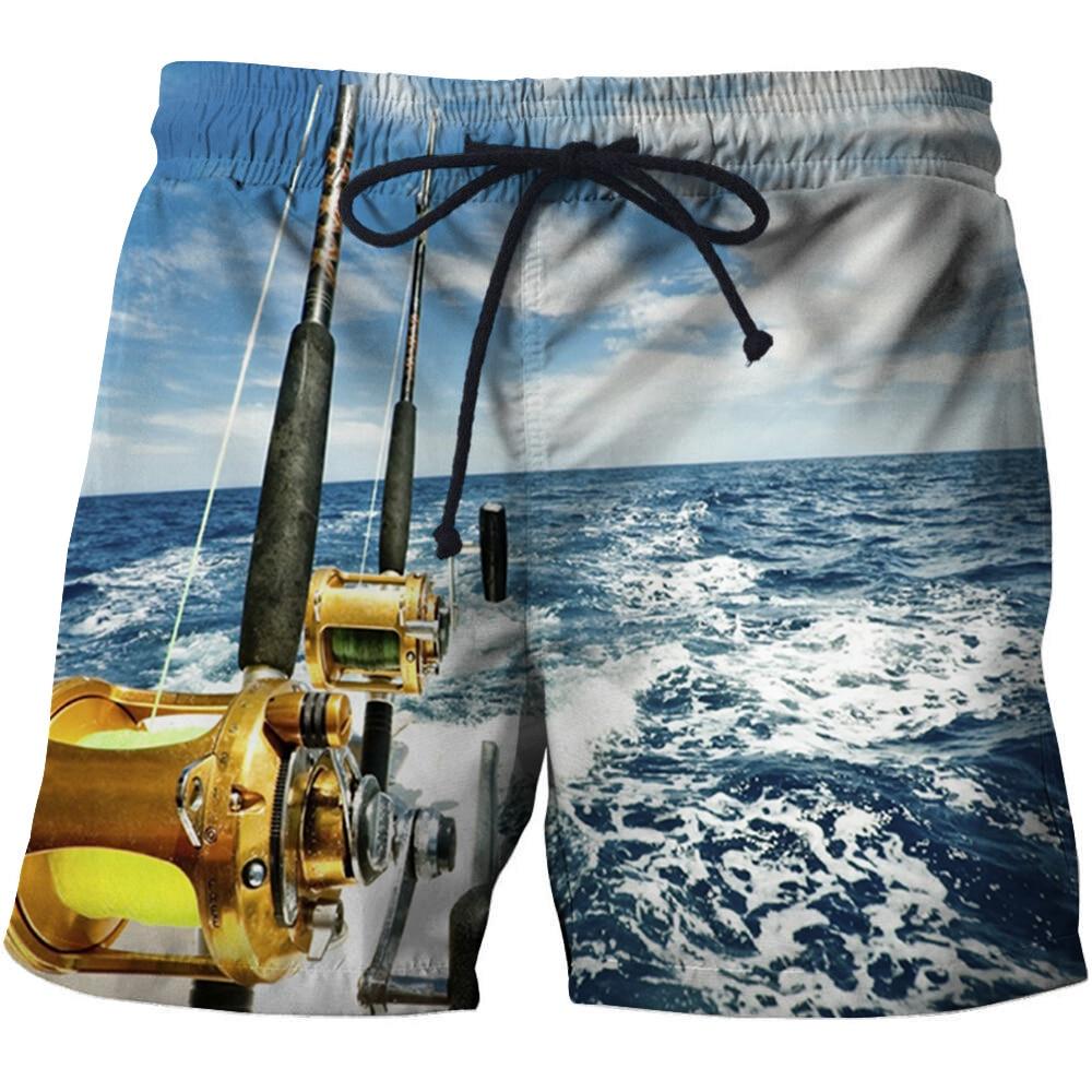 Golden Fishing Rod Digital Printing 3D Beach Pants Mens Beach Wear Maillot Sexy Male Swim Briefs Men'S Beach Shorts Swim Trunks