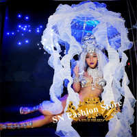 K46 Party dance wears Jellyfish light umbrella led costumes sexy bodysuit dress stage show wears outfit clothe performance dj ds