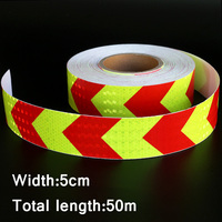 50mx5cm Yellow&Red Arrow Reflective Strips Glue Stickers For Car Styling Motorcycle Automobiles Decoration Safety Warning Tape