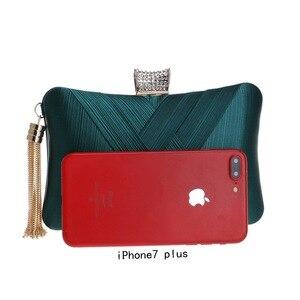 Image 5 - Luxury Handbags Women Bags Designer Silk Evening Bag Lady Satin Bridal Wedding Green Gold Box Purse Party Messenger Tassels