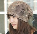 2016 New Butterfly-knot Cap Fashion Rose Flower Beanies Hat for Women Solid Chiffon Lace Headwear Hand Hooked Women Hats