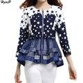 2017 Chegada Nova Primavera Casual Magro Mulheres Jacket Ruffles Malha Emendado Lantejoulas Estrelas Impressão Outerwear Mulheres Casaco Jaqueta Feminina