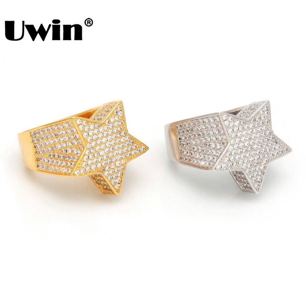 Uwin moda estrella anillos oro plata Color completo helado Cubic Zirconia anillo Hiphop joyería para hombres y mujeres envío de la gota