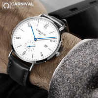 2018 CARNIVAL Transparent Blue-Hand Mechanical Watch TopBrand Luxury Classic Small Second Men Watch Waterproof relogio masculino