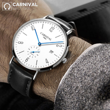 2018 CARNIVAL Transparent Blue-Hand Mechanical Watch TopBrand Luxury Classic Small Second Men Waterproof relogio masculino